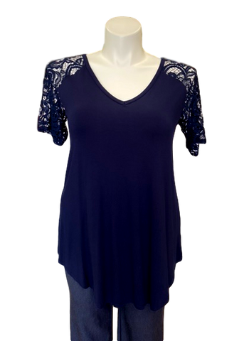 Short Sleeved Lace V-Neck Tee in Navy