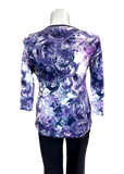3/4 Sleeve Printed Cotton Tee in Purple Sparkle