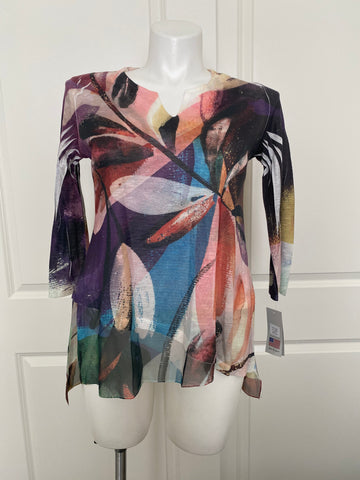 Jess and Jane Chiffon Flutter Tunic Top in Wind Ballad