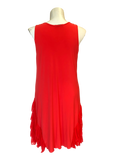 sleeveless midi length dress with ruffled hem detail in coral orange for missy and full figured women