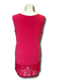 lace bottom tank top in hot pink perfect for spring and summer missy and plus size women