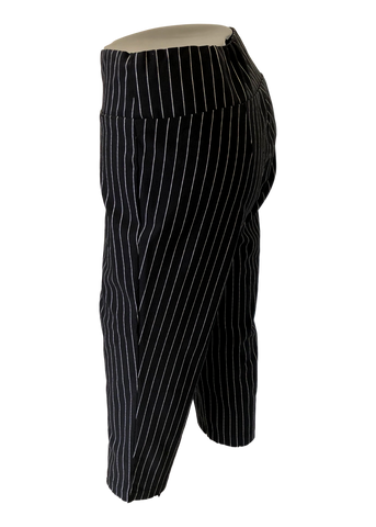 Stretch Comfort Capri in Black Pinstripe