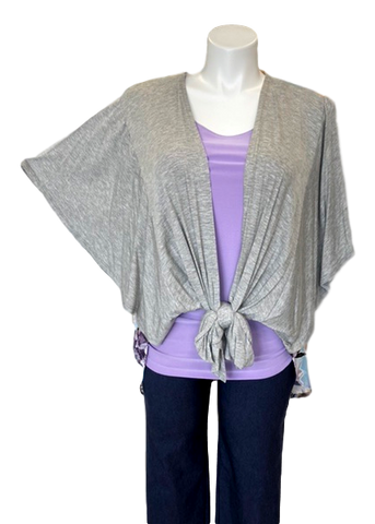 Tie Front Floral Panel Cardigan in Grey