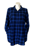 Plaid pocketed flannel big shirt in royal blue black check