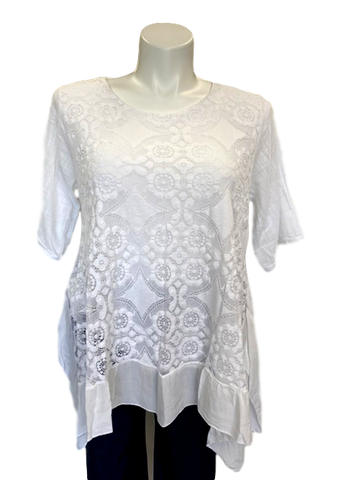 short sleeved crochet overlay cotton viscose tunic top with handkerchief hemline