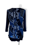 Long Sleeve Top with Mesh Overlay in Blue Geometric