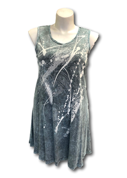 mineral washed cotton sleeveless tunic in light teal and white print for missy and plus sizes