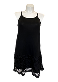 Laced Extender Tunic Slip Dress in Black