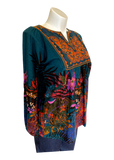 Embroidered  Peasant Top Top in Teal Fern
