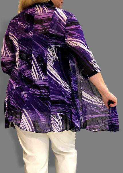 Mesh Flared Duster in Purple and Violet