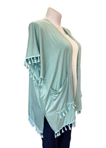Tassel Rayon Kimono with Patch Pockets in Mint Green