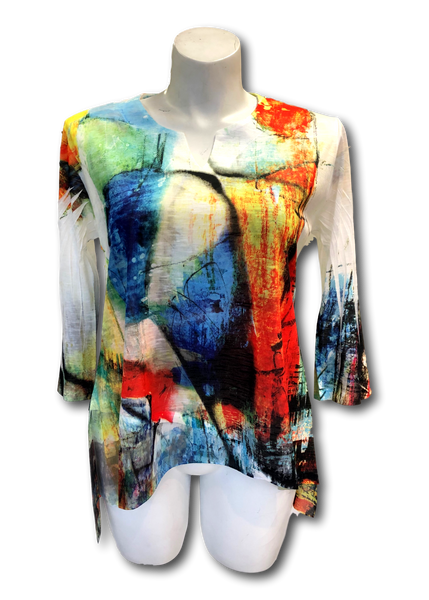 spring and summer weight multi colored printed v-neck hi lo chiffon tunic top for missy and plus size women