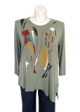 Modal Paint Stroke Printed Tunic Top in Sage