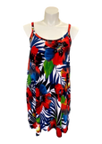 Essential Cami Tunic Slip Dress in Red Tropical Print