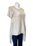 Short Sleeved Viscose and Silk Handkerchief Hem Top in Taupe