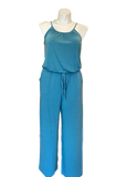 Pocketed Jumpsuit with Bloused Waist in Teal