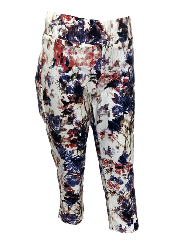 Stretch Comfort Capri in Denim and Coral Floral