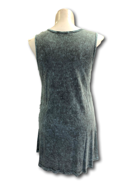 Sleeveless Mineral Washed Cotton Tunic in Soft Teal Green