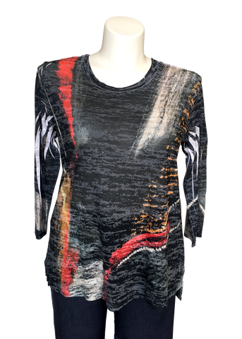 Hacci Printed 3/4 sleeved tee in Black Red and Gold