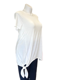 Short Sleeved Tie Front Brick Top in Ivory