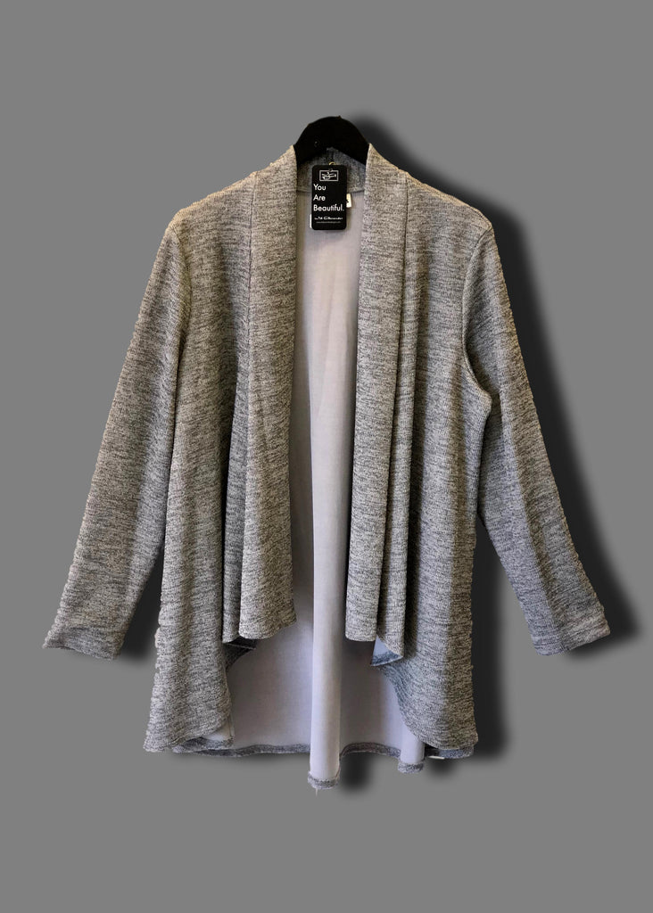 heather gray ribbed cardigan sweater with waterfall front for plus size women