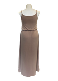 Bloused Spaghetti Strap Maxi Dress with Pockets in Taupe