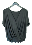 Short Sleeved Rayon Crossover Top in Gray Green
