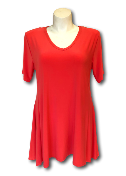 Short sleeved flared asymmetrical tunic in Coral