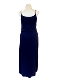 Bloused Spaghetti Strap Maxi Dress with Pockets in Navy