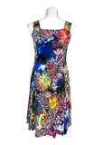 Sleeveless Fit and Flare Dress in Royal and Yellow Paisley