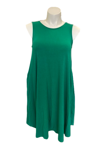 Sleeveless Swing Dress with Pockets in Kelly Green