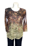 Hacci Printed 3/4 Sleeved tee in Sienna Print