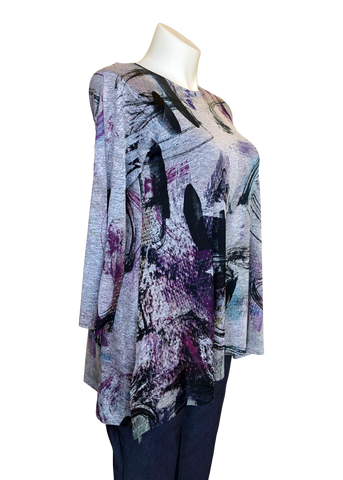 Slinky Knit Side Slit Boatneck Tunic in Gray and Purple Paint