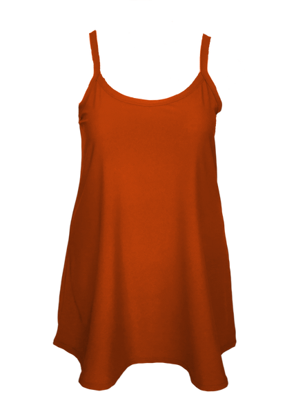 A-line slip dress for plus size and missy in brick, spice, reddish brown.