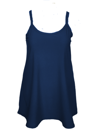 Essential Cami Tunic Slip Dress in Navy Blue