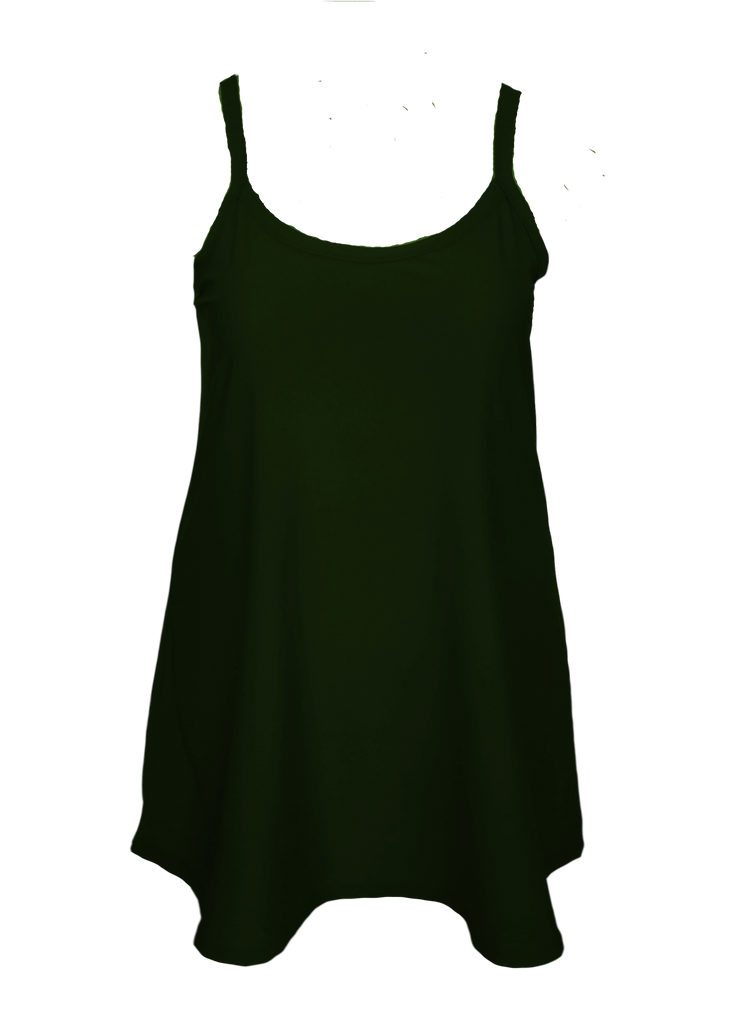 Camisole tunic dress skims over your shape for a flattering fit Missy or Plus -Size. Olive green slip dress.