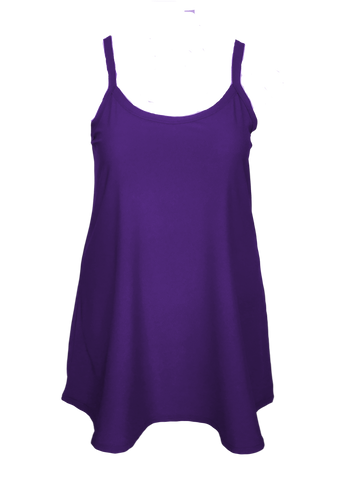 purple spaghetti strap fit and flare slip dress for holiday parties