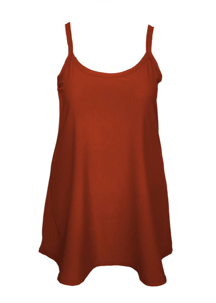 A-line slip dress flattering to full figure and missy sizes. Brick color has brown and orange hues to create a chic silhouette.
