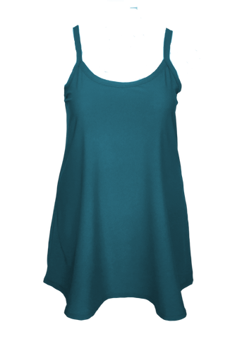 Essential Cami Tunic Slip Dress in Teal Blue