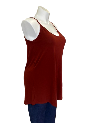 Reversible Spaghetti Strap Swing Top in Brick