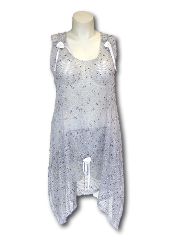 sleeveless open mesh coverup in heathered white with button and bow details for missy and plus size women