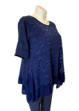 Crochet Flower Overlay Cotton Tunic Top in Navy