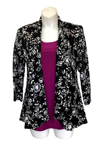 black and white floral stretch lace jacket for missy and plus sizes