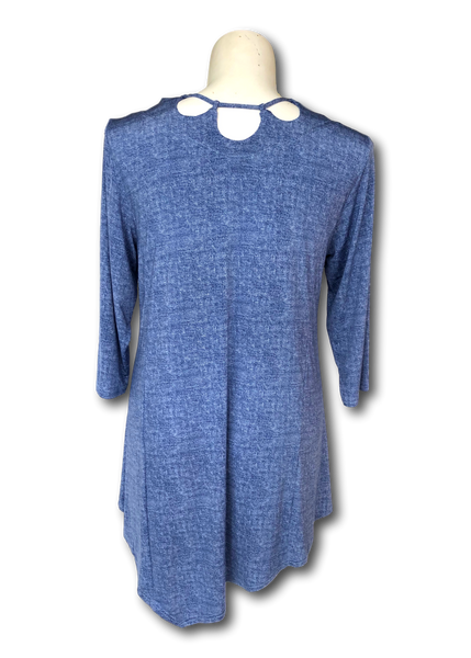 laced neckline 3/4 sleeve tunic with asymmetrical hemline in denim blue for missy and plus size women