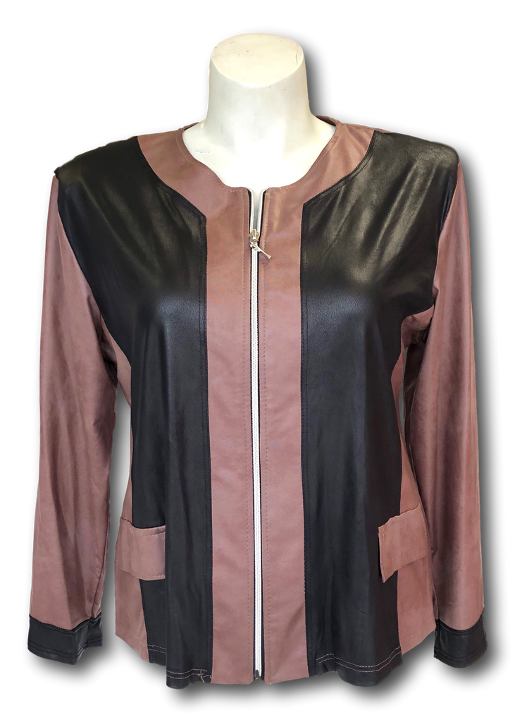 two toned black and taupe faux leather moto jacket for missy and plus sizes