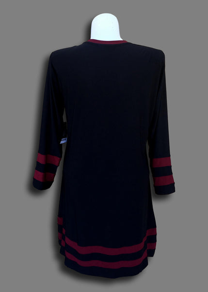 Varsity Stripe Tunic Dress in Burgandy Stripe