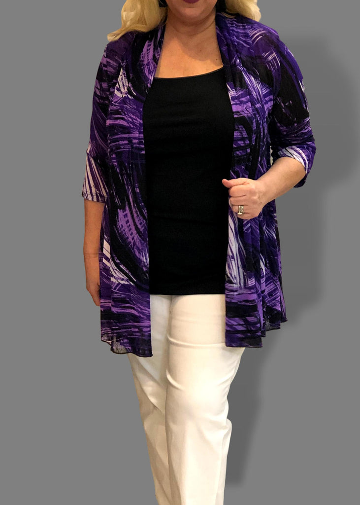 30e9b2cff55 Mesh Flared Duster in Purple and Violet – Jill Alexander Designs
