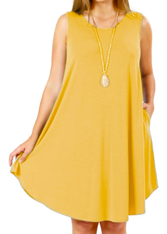 Sleeveless Swing Dress with Pockets Gold