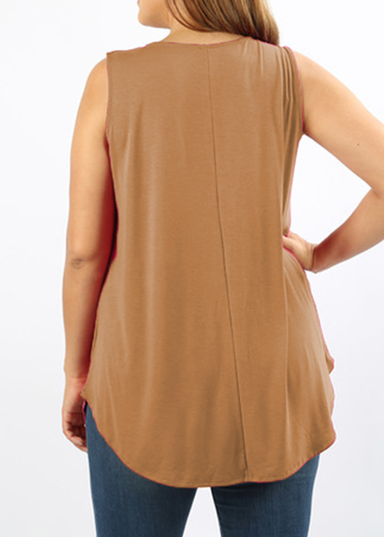Sleeveless Flared Tank in Camel