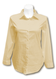 Long Sleeved Stretch Button Up Blouse in Tan